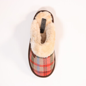 Ladies Tartan Mule With Fur Collar Brown