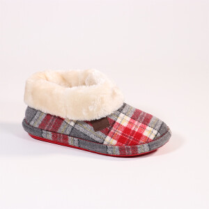 Ladies Tartan Slipper Boot With Fur Collar Light Grey