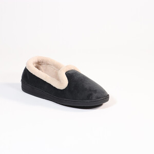 Ladies Soft Velour Slipper Charcoal