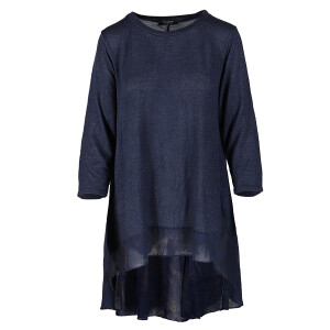 Printed Tunic Woven Trim Navy