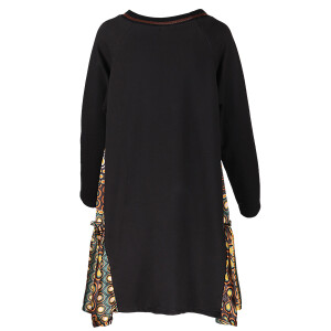 Sweater Dress Printed Side Panels Dark Black