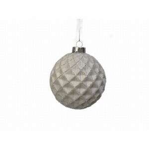 Blue Diagonal Ribbed Glass Bauble