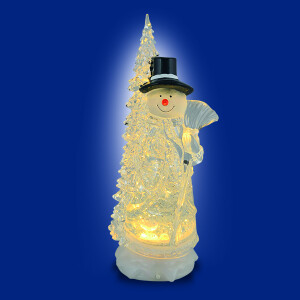 Warm White LED Snowman and Tree Water Spinner