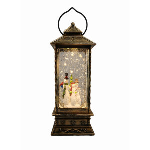 LED Glitter Spinner Lantern Santa or Snowman