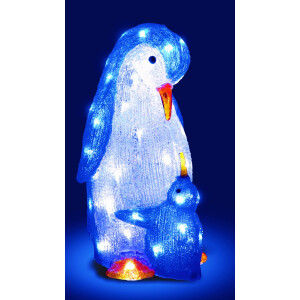 Acrylic LED Mother and Baby Penquin