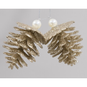 Champagne Gold Glitter Pine Cones With Pearls Hanging Decoration