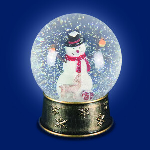 Warm White LED Water Spinner Snow Globe with Snowman