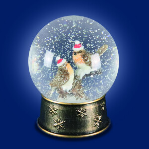 LED Water Spinner Snow Globe with Robin on a Branch Scene