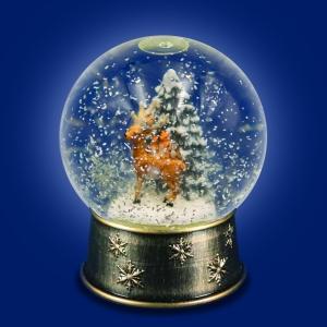 Warm White LED Rotating Snow Globe with Woodland Scene