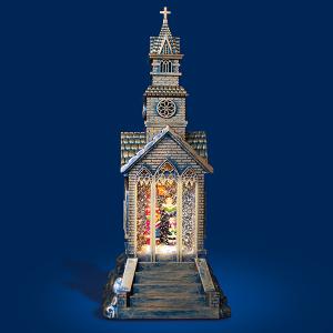 Warm White LED Chritmas Church Scene Water Spinner