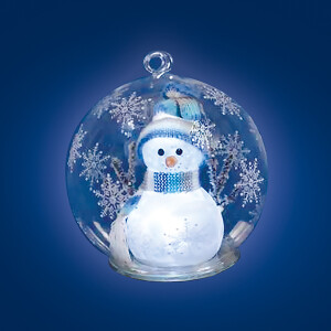Large Clear Glass Globe with LED Light Snowman Scene