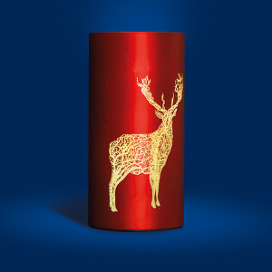 Large Red Glass  Etched Stag Design LED Cylinder Lamp