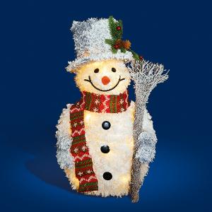 50cm White Fluffy Tinsel Snowan with LED Lights