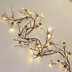 Cone-Berry Garland with LED Micro Lights