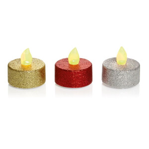 5pc Glitter LED Tea Light Red-Gold-Silver