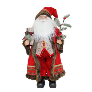 60cm Traditional Santa with a festive branch and present.