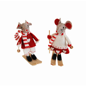 Assorted Red Felt Mice on Skis
