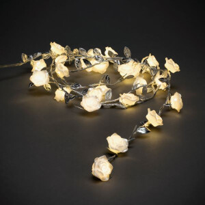 25 Warm White LED's Silver Leaves and Roses Lights