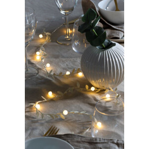 20 Warm White LED's Gold Leaves and Pearls Lights
