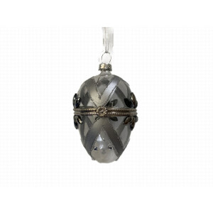 Clear with Silver Jewels Glass Egg Shaped Opening Bauble
