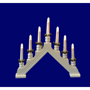 7 Bulb White Wooden Welcome Candle Bridge