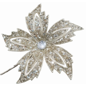 Silver Bead and Glitter Clip on Flower Decoration