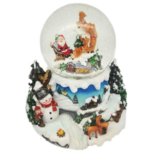 Medium Snowglobe with Musical Rotating Santa and Sleigh Scene