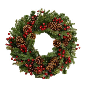 Luxury Pine Wreath with Real Pinecones and Berries