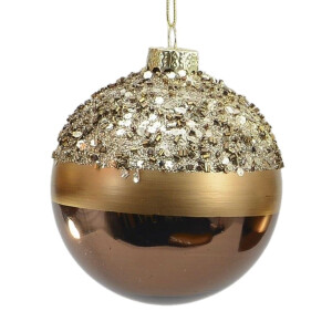 Bronze and Gold Sequin Top Glass Bauble