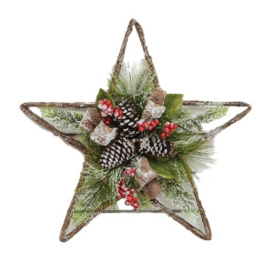 Berry and Pinecone Star Shaped Wreath