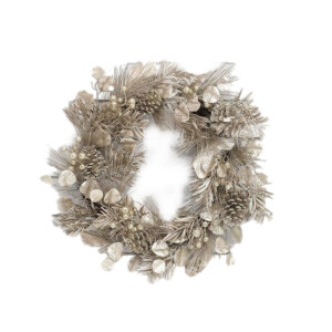 Luxury Platinum Foliage, Pinecone and Berries Wreath