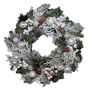 Frosted Silver Bauble Wreath