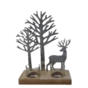 Deer Scene Duo Tealight Holder