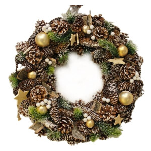 Natural Cone and Gold Bauble Wreath