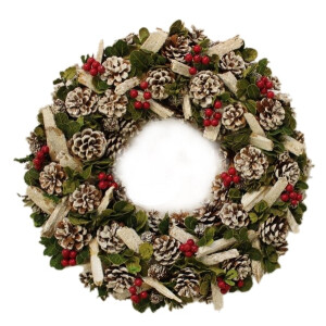 Natural Wood Berry and Pinecone Wreath 37cm