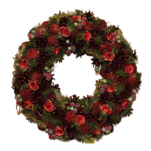 Natural Wood Berry and Pinecone Wreath 48cm