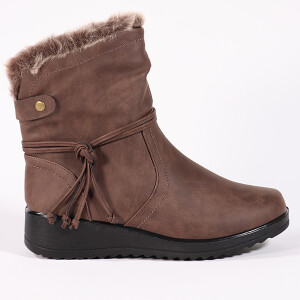 Ladies Ankle Boot Fur Lined Side Tie Brown