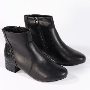 Ladies Ankle Boot With Mock Croc Detail Black