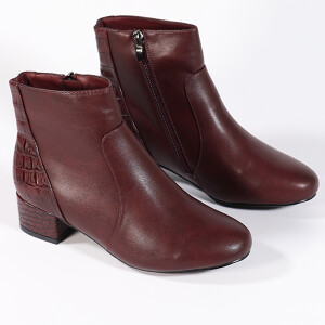 Ladies Ankle Boot With Mock Croc Detail Wine