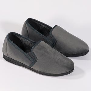 Men's Velour Slipper With Elastic Gusset Grey