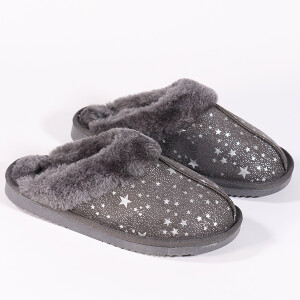 Ladies Star Print Mule Slipper Grey