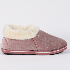 Ladies Cosy Boot Slipper With Sparkle Heather