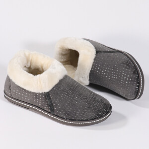 Ladies Cosy Boot Slipper With Sparkle Grey