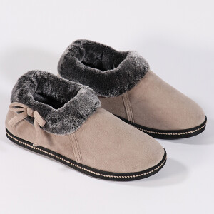 Ladies Cosy Boot Slipper With Side Bow Taupe