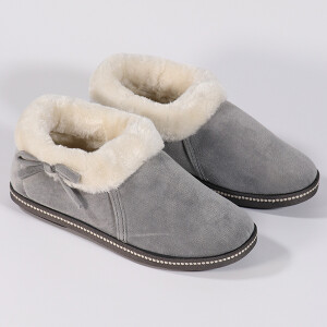 Ladies Cosy Boot Slipper With Side Bow Grey