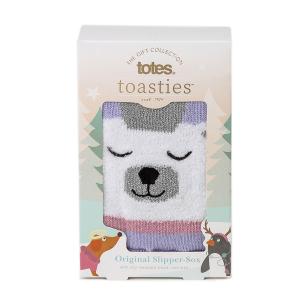 Ladies Boxed Slipper Socks With Winter Animal Design Polar Bear