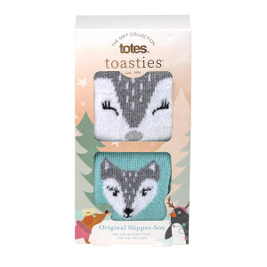 Ladies Slipper Socks Boxed 2Pack With Winter Animal Design Fox