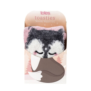 Ladies Boxed Novelty Slipper Socks Fox