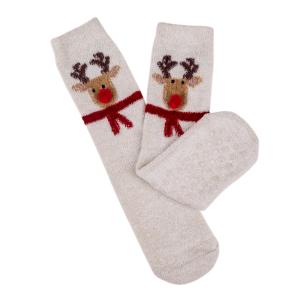 Ladies Boxed Novelty Slipper Socks Reindeer