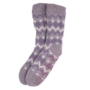 Ladies Boxed Fairisle Slipper Socks Lilac